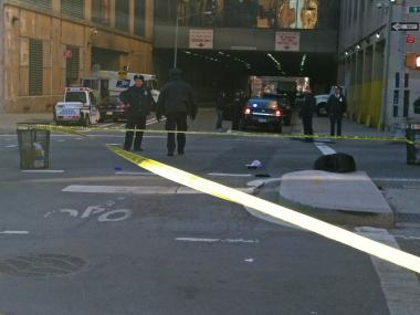 A man was struck by a garbage truck in Chelsea at Ninth Avenue and West 29th Street Jan. 18, 2013.
