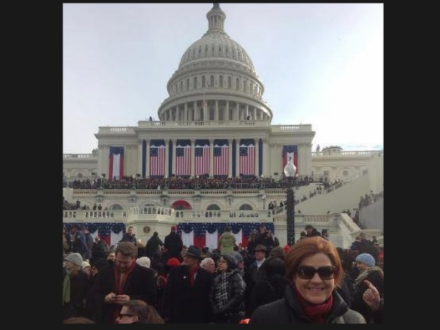 <p>Christine Quinn celebrated the president&#39;s second inauguration in Washington, D.C.</p>
