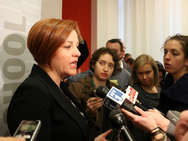 <p>City Council Speaker Christine Quinn spoke with reporters following an education policy speech on Jan. 15, 2013.</p>