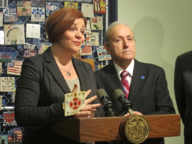 <p>City Council Speaker Christine Quinn said Jan. 8, 2013 the 9/11 tile memorial once found at Seventh Avenue South and Greenwich Avenue was a testament&nbsp;to the goodwill felt in Greenwich Village post-Sept. 11. At her side is September 11th Families&#39; Association president Lee Ielpi.</p>