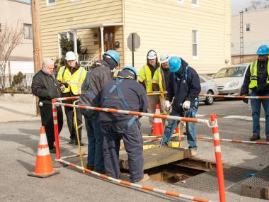 An employee of Osmose Utilities Services Inc, a sub contractor for Con Edison, was burned while working with underground transformers on 59th Street at 57th Road in Queens on Jan. 23, 2013.