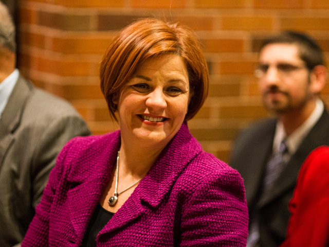 <p>City Council Speaker Christine Quinn at the inauguration ceremony of Gabriela Rosa at the Michael Buczek School in Washington Heights on Jan. 6, 2013.</p>