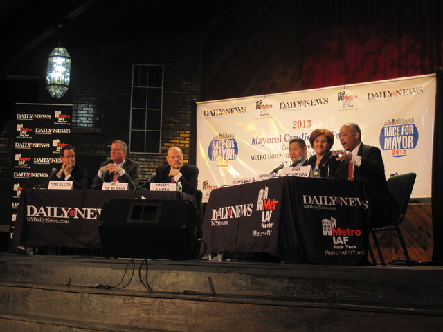 <p>Tom Allon, Bill de Blasio, Joe Lhota, John Liu, Christine Quinn and Bill Thompson talked about housing challenges at a forum in East New York on Jan. 24, 2013.</p>