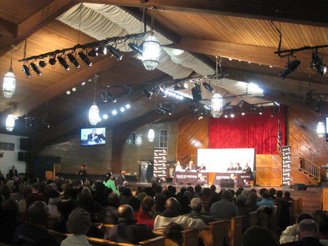<p>It was standing-room-only at the St. Paul Community Baptist Church in East New York during the debate.</p>
