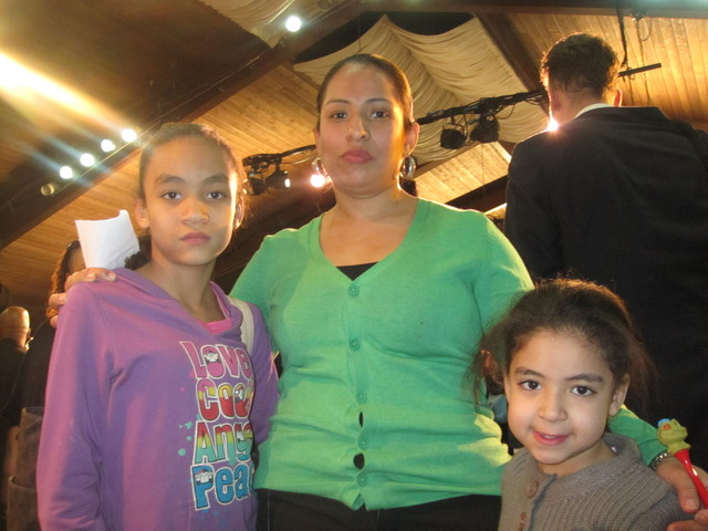 <p>NYCHA resident Rossana Delacuadra with her daughters Hayley, 11, and Amanda, 6. Amanda suffers from asthma, which her mom blames on the mold that has plagued their apartment for years.</p>