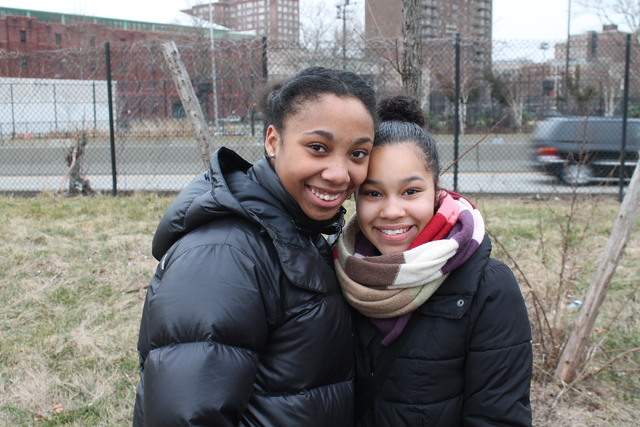 <p>Friends Josephine Miranda and Alexis Davis, both 14-year-old ninth-graders at Democracy Prep, said they felt it was important to perform service Monday.</p>