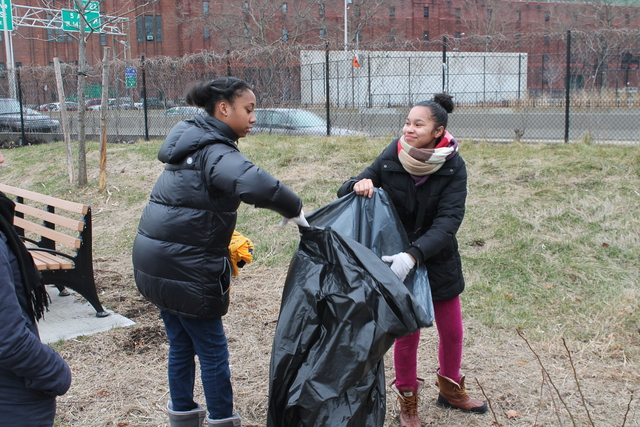 <p>Friends Josephine Miranda and Alexis Davis, both 14-year-old ninth-graders at Democracy Prep, picked up trash at Harlem River Park.</p>