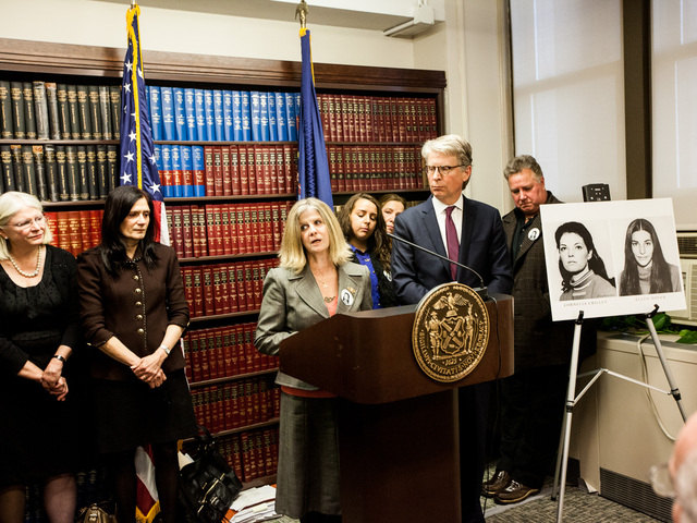 <p>Family and friends of the two victims address the media after convicted serial killer Rodney Alcala was sentenced for the murders of Cornelia Crilley and Ellen Hover in Manhattan Supreme Court on Jan. 7th, 2013.</p>
