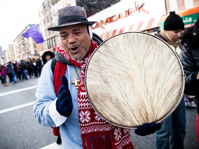 <p>A drummer performs at the 36th Annual Three Kings Day Parade in East Harlem on Jan. 4, 2013.</p>