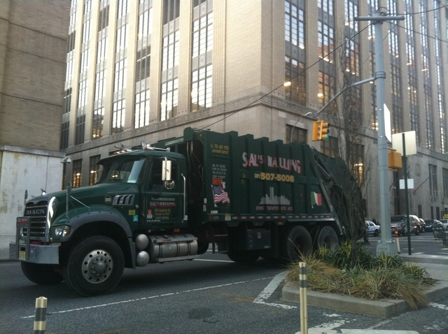 <p>The garbage truck that witnesses said hit a recently retired postal worker at Ninth Avenue and West 29th Street Jan. 18, 2013.</p>