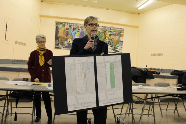 <p>Architect&nbsp;Meta Brunzema shows off a design for the Dyer Avenue park.</p>