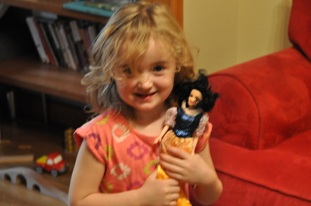 <p>Emilia Glorieux, 3, played with a doll in her Greenpoint home. Emilia&#39;s mother Jessica Glorieux is starting the &quot;Brooklyn Baby Fest&quot; to connect other local parents with resources this spring.</p>