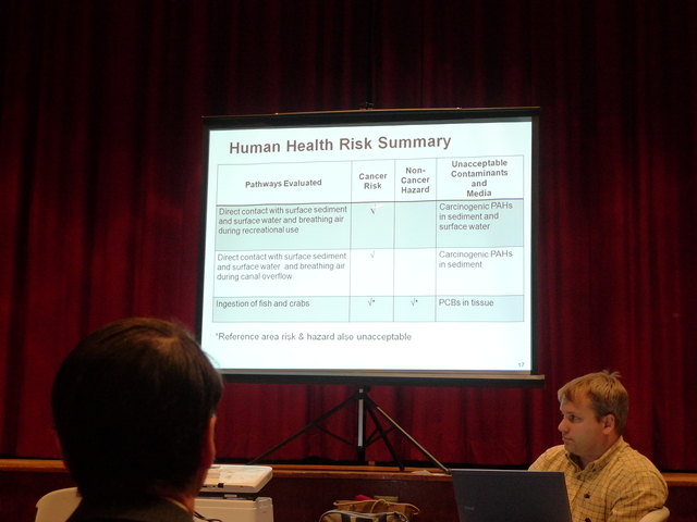 <p>A slide describing how the Gowanus Canal affects human health during the EPA&#39;s presentation on its cleanup plan.</p>