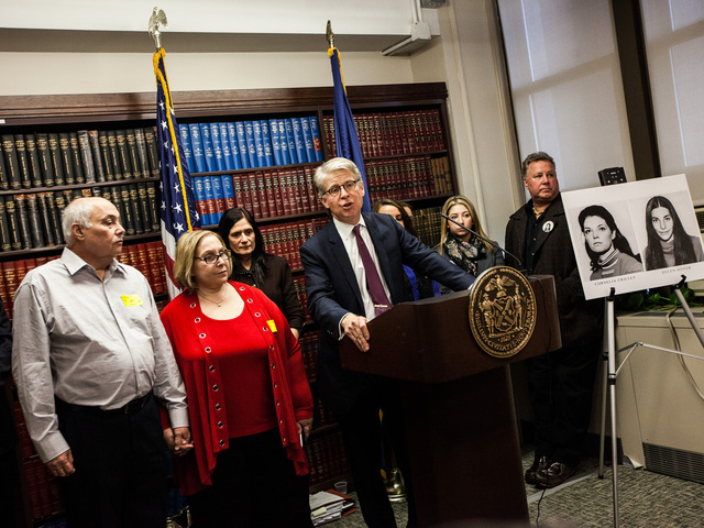 <p>Anita Feinberg, the college roommate of Ellen Hover stands next to District Attorney Cyrus Vance at a press conference after the sentencing of serial killer Rodney Alcala on Jan. 7th, 2013.</p>