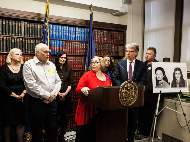 <p>Anita Feinberg, the college roommate of Ellen Hover speaks at a press conference after the sentencing of serial killer Rodney Alcala in Manhattan Supreme Court on Jan. 7th, 2013.</p>