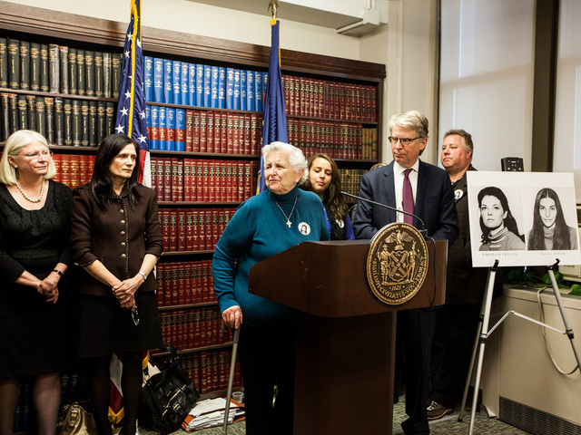 <p>June Zalud, the aunt of Cornelia Crilley speaks to the media after Rodney Alcala was sentenced for the murder of her niece in Manhattan Supreme Court on Jan. 7th, 2013.</p>