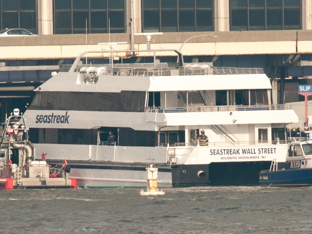 <p>The Seastreak commuter ferry crashed into a dock at Pier 11 on Jan. 9, 2013.</p>