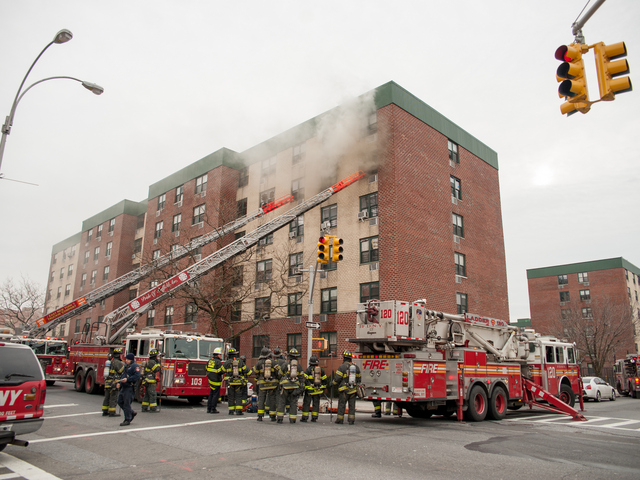 <p>Fire broke out in Apartment 5C at the Remeeder Houses at 580 Sutter Avenue on Jan. 1, 2013.</p>