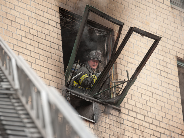 <p>Firemen battle the blaze at 580 Sutter Ave. on Jan. 1, 2013.</p>