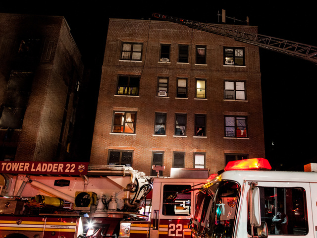 <p>A fire raced through an Amsterdam Avenue apartment building in Washington Heights late Wednesday Jan. 23, 2013.</p>