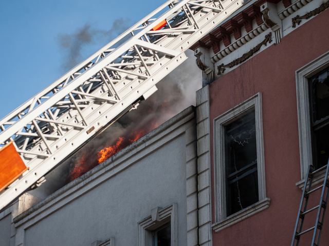 <p>The scene of a four-alarm blaze at 175 Bedford Ave. in Brooklyn on Tuesday Jan. 22, 2013. The fire eventually engulfed two more buildings.</p>