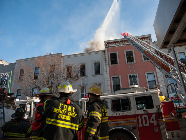 <p>The scene of a four alarm blaze at 175 Bedford Ave. in Brooklyn on Tuesday Jan. 22, 2013. The fire eventually engulfed two more buildings.</p>