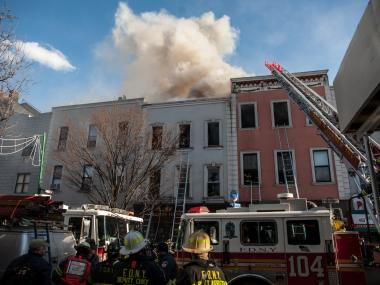 A fire broke out at 175 and 177 Bedford Ave. in Brooklyn on Jan. 22, 2013.