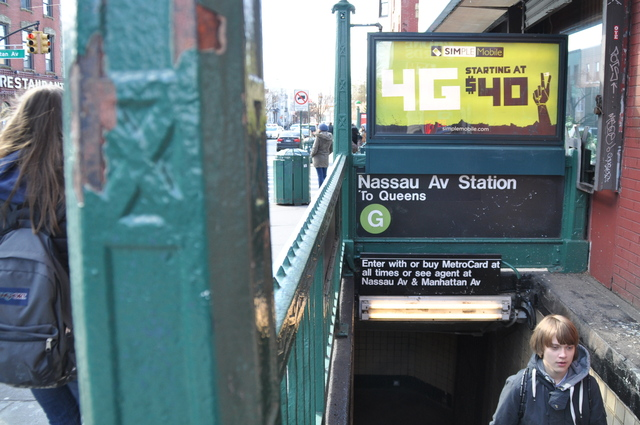 <p>Passengers emerged from the Nassau Avenue G train station. Straphangers and politicians have pushed for more frequent and consistent service along the line.</p>