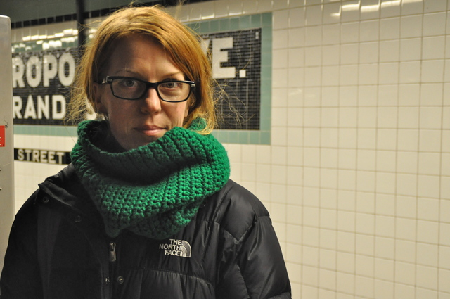 <p>Alison Owen, 37, waited for the G train at Metropolitan Avenue in the cold Thursday, January 24. Owen said she has considered moving out of Greenpoint&nbsp;to a neighborhood near a better subway train than the G.</p>