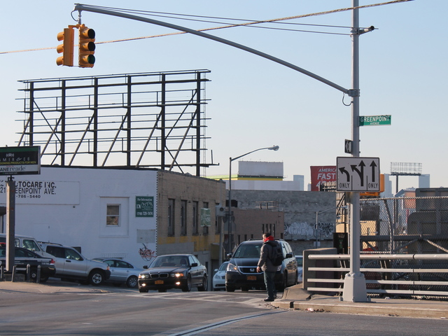 <p>A group of Queens transportation advocates say they&#39;d like to see traffic changes to improve safety at a busy intersection in Sunnyside, where Greenpoint Avenue crosses over Borden Avenue.</p>