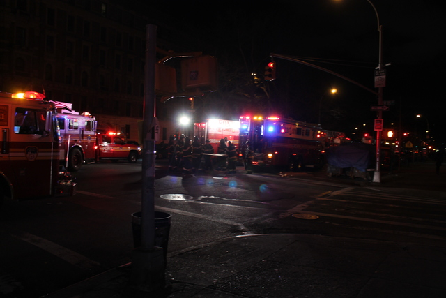 <p>Numerous fire trucks responded to the partial bathroom collapse at 1890 Adam Clayton Powell Jr. Boulevard.</p>