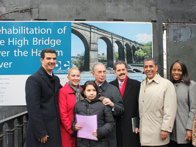 <p>Elected officials are joined by student Jocelyn Fuentes at the High Bridge renovation groundbreaking.</p>