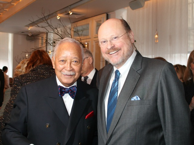 <p>Former MTA Chairman Joe Lhota and former Mayor David Dinkins pose for a photo at the Inaugural Loews Regency Power Breakfast Event at the Park Avenue Winter on Jan. 9, 2013.</p>