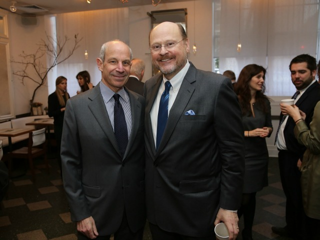 <p>Jonathan Tisch poses with former MTA Chair Joseph Lhota at the Inaugural Loews Regency Power Breakfast Event at the Park Avenue Winter on Jan. 9, 2013.</p>