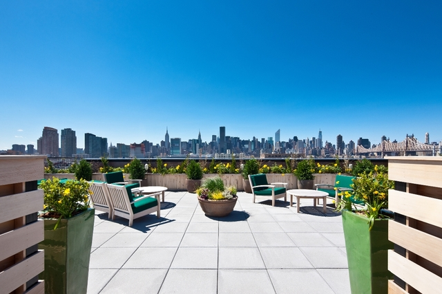 <p>The view from the roof deck at The Industry, a building of luxury condos on 44th Drive in Long Island City.</p>