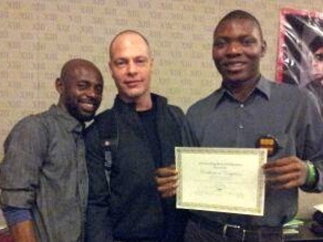 <p>Ivan Giovanettina (center), who was shot and killed in Bedford-Stuyvesant on Jan. 10, 2013, was shown here&nbsp; with roommates Michael Ighodaro (right) and Alex Wilson (left).</p>