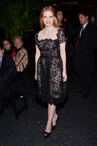 <p>Jessica Chastain, wearing Oscar de la Renta, at the New York Film Critics Circle Awards at the Crimson Club, Monday, January 7, 2012.</p>