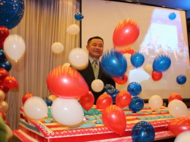 John Liu's supporters gathered to wish him a happy birthday on Tues., Dec., 8, 2013.