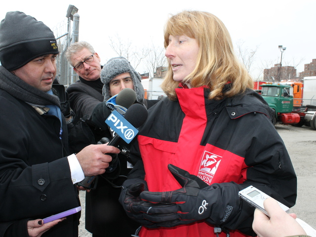 <p>Julika Wocial, a marine biologist with the Riverhead Foundation, talks to press after a dolphin was spotted in the Gowanus Canal on Jan. 25, 2013.</p>