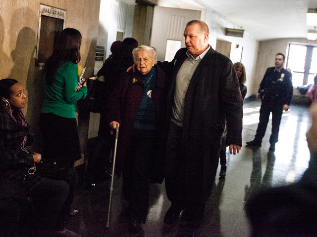 <p>June Zalud, the aunt of Cornelia Crilley and Ellen Hover leaves court after Rodney Alcala was sentenced for her murder on Jan. 7th, 2013.</p>