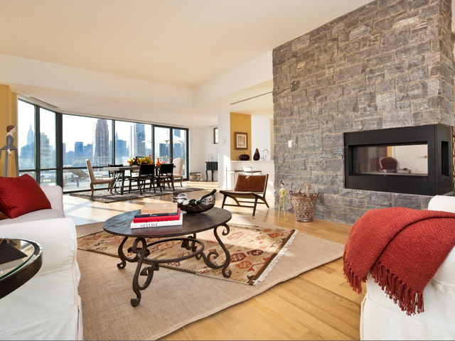 <p>The living room in the penthouse at L-Haus, a building of luxury condos on 49th Avenue in Long Island City.</p>