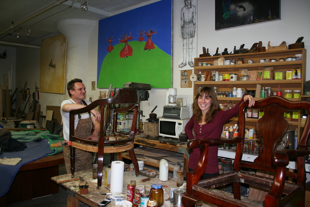 <p>Christopher Anigacz, founder of Double Queue Fine Furniture Restoration and Conservation in Long Island City shows Apartmentality columnist Elizabeth Wolff how to refinish one of her first antique finds.</p>