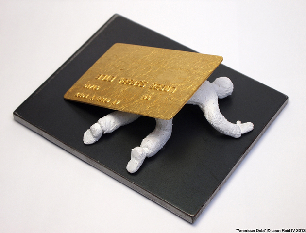 <p>Leon Reid IV&#39;s new artwork &quot;American Debt&quot; includes a cast of his credit card gilded in gold, the artist said.</p>