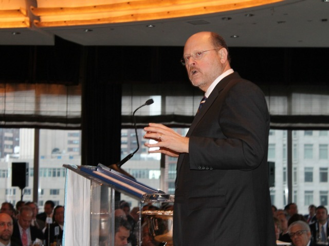 <p>Former MTA Chairman Joe Lhota speaks at the New York Building Congress on Jan. 14, 2013.</p>