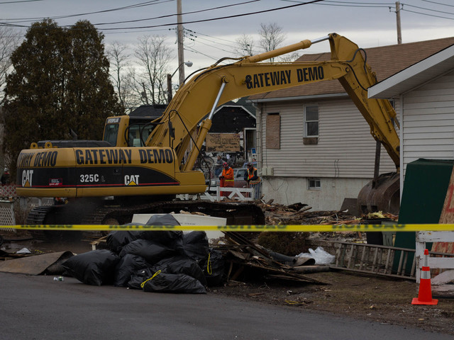 <p>The city demolished several homes in Staten Island on Monday, Jan, 14. 2013 that were damaged by Superstorm Sandy, including this home on Liberty and Quincy avenues. These was the first batch of homes demolished by the city since the storm.</p>