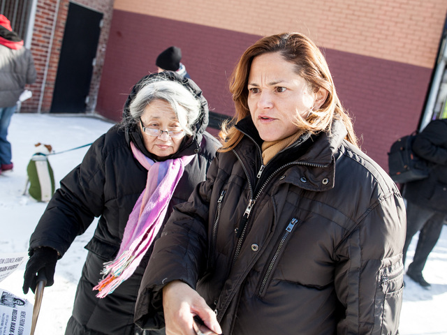 <p>Councilwoman Melissa Mark-Viverito speaks to residents in East Harlem about a rash muggings that have possibly targeted Asian Americans, on Jan. 26, 2013.</p>