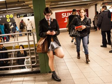 The No Pants Subway Ride took place in New York City on Jan. 13, 2013.