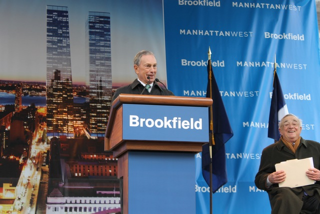 <p>Mayor Michael Bloomberg speaks at the construction kick-off for Manhattan West.</p>