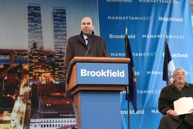 <p>Brookfield CEO Dennis Friedrich speaks at the construction kick-off for Manhattan West.</p>