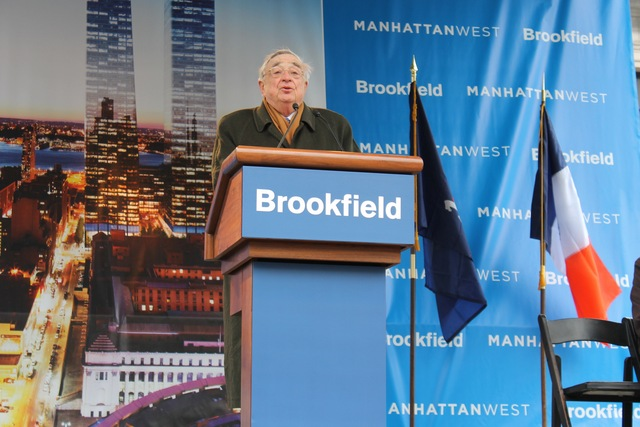 <p>Brookfield&#39;s John Zuccotti speaks at Manhattan West.</p>